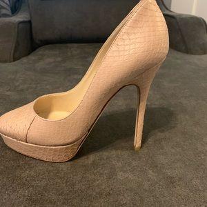 Jimmy Choo tan snake skin leather heels